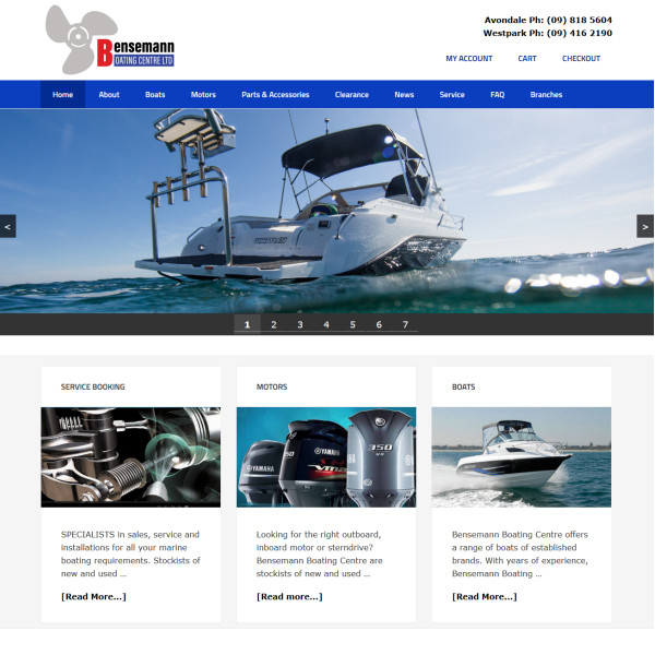 Bensemann Boating website by Webbuilder